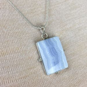 Jewelry - Sterling Silver Blue Lace Agate Pendant & Necklace